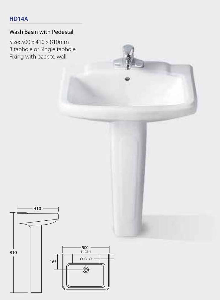 Wash Basin With Pedestal HD14A