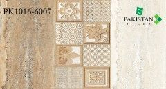 Rustic Brown and Light Ivory with Motif Texture  Ceramics Wall Glossy Tiles