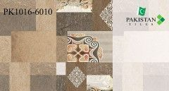 Bricks Rustic Brown and Light Ivory with Motif Texture  Ceramics Wall Glossy Tiles