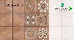 Square Blocks Brown and Light Ivory with Motif Texture  Ceramics Wall Glossy Tiles