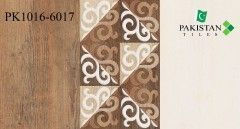Wooden Brown and Light Ivory with Motif Texture  Ceramics Wall Glossy Tiles