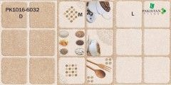 Square Blocks Brown and Light Ivory with Kitchen Motif Texture  Ceramics Wall Glossy Tiles