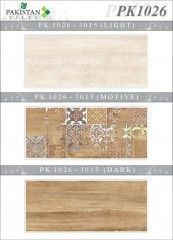 Wooden Flower Brown and Light Brown with Motif Texture  Ceramics Wall Tiles