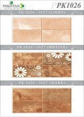 Bricks Brown & Dark Brown with Flower Motif Texture  Ceramics Wall Tiles