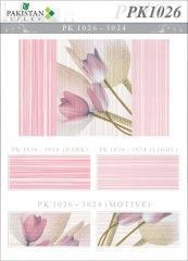 Lines Pink & Light Pink  with Double Flower Motif Texture  Ceramics Wall Tiles