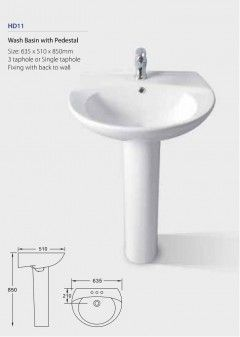 Wash Basin with Pedestal HD11