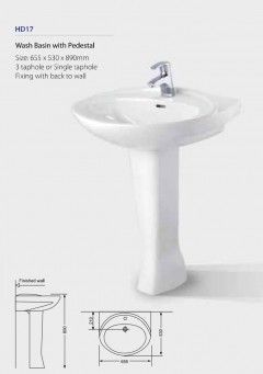 Wash Basin with Pedestal HD17