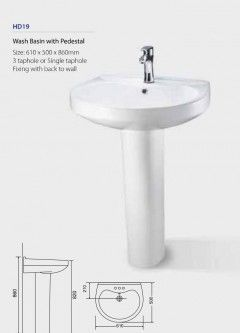 Wash Basin with Pedestal HD19