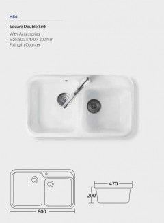 Square Double Sink HD1 Fixing in counter with accessories