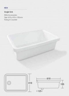 Single Sink HD4 Fixing in counter with accessories