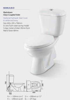 Toilet Washdown Close-Coupled HD9N/A/B/D