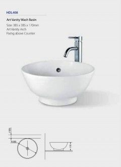 Art Vanity Wash Basin HDL408 Fixing above counter